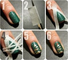 With just a little tape and some patience, you've got an easy Christmas manicure. Or if 10 fingers sounds like too much work, just do one as an accent nail.