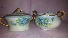 $20--Vintage Ohio Blue Forget Me Nots Gold Gilt Sugar Bowl with Lid and Creamer Set * Gorgeous Blue Flower Creamer Set Luster Finish Made in USA by JunkYardBlonde on Etsy