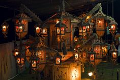lanterns, lights, orange,