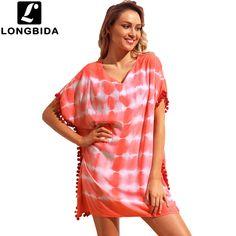 1cb7481b4b Short Sleeve Loose Bikini Swimwear Beach Dress Cover Ups Hot Sale Print Beach  Dress Sexy Women