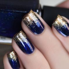 + 77 designs for trendy gel nails polish colors 2018 creative nails, blue gold nails Gel Nail Polish Colors, Nail Colors, Pedicure Colors, Polish Nails, Glitter Nail Polish, Gellux Nails, Fingernail Polish Designs, Navy Nail Polish, Usa Nails