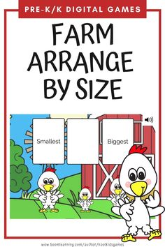 Kids will drag and drop pictures of farm animals to arrange them by their size from smallest to biggest. There are 10 cards with 3 pictures and 10 cards with 4 pictures to arrange. Use these task cards as a fun center to improve math skills in preschool and kindergarten. This digital resource is compatible with google classroom and seesaw and perfect for distance or homeschooling. #digital #boom #task cards #math #count #number #pre-k #preschool #kindergarten #farm #animal #chicken #cow Interactive Learning, Learning Games, Educational Activities, Circle Time Games, Seesaw, Number Sense, Preschool Kindergarten, Math Skills, Google Classroom