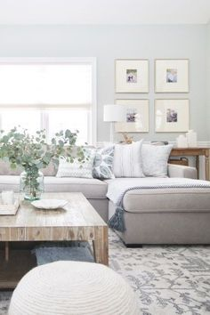 5 Ways To Create A Rustic Neutral Living Room In Your Home! - HOUSERustic Modern Living Room Makeover by Postbox Designs, Interior E-Design, Neutral Modern Meets Traditional Living Room Design, Modern Boho Family Room Decor Coastal Living Rooms, Rugs In Living Room, Home And Living, Living Room Designs, Living Spaces, Living Room With Sectional, Living Room Decor Grey Couch, Living Room Ideas Light Blue, Living Room With Grey Walls