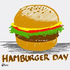 Hamburger doodle for hamburger day! Hand drawn!