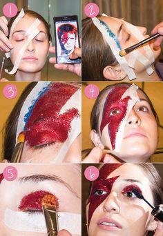 Are you looking for inspiration for your Halloween make-up? Check out the post right here for scary Halloween makeup looks. Halloween Zombie Makeup, Maquillaje Halloween, Halloween Kostüm, David Bowie Kostüm, David Bowie Makeup, Eyeshadow Palette Uk, Eyeshadow Makeup, Dark Eyeshadow, Yellow Eyeshadow