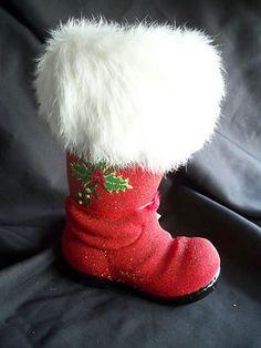Ino Schaller Christopher Radko Paper Mache Christmas Santa Boot