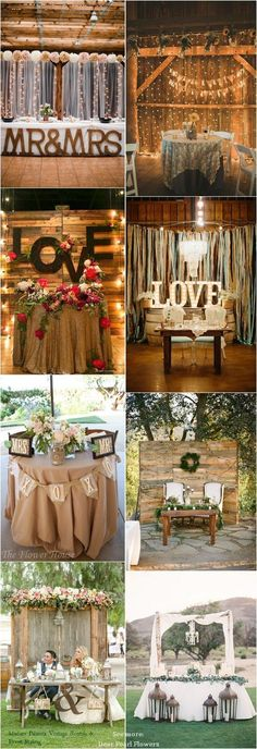 Rustic country wedding ideas - rustic sweetheart table decor for wedding reception / http://www.deerpearlflowers.com/top-20-rustic-country-wedding-sweetheart-table-ideas/ #outdoorideasrustic