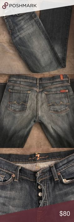 NEW! 7 for All Mankind Jeans 7 for All Mankind boycut jeans with a button fly. Jeans are style # U144080U-080U and cut # 707767. Size 30 and a 30 inch inseam, 98% cotton and 2% Lycra. Jeans are in excellent condition, free of any rips, frays or tears and any distressing is natural to the style of the jeans. 7 For All Mankind Jeans Straight Leg