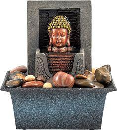 Artikeldetails:  Ein prachtvoller Brunnen, Luftbefeuchter im orientalischen Style, Mit Buddhakopf,  Maße:  Maße (B/T/H): 13,5/18,5/21 cm,  Material/Qualität:  Polyresin,  ...