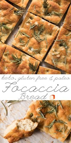 Gluten Free, Paleo & Keto Focaccia Bread  with rosemary and flakey sea salt! #keto #paleo #lowcarb #healthyrecipes