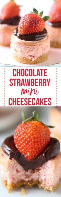 Perfect Valentine's Day recipe!! I brought these into work and everyone LOVED them! Chocolate Strawberry Mini Cheesecakes #sponsored