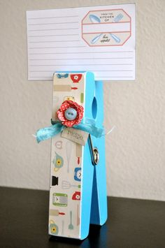 Giant Clothespin Recipe Holder - found a giant clothespin in the $1 bin at JoAnns yesterday so I'm in the process of making this!