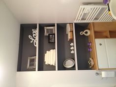 Grey alcove shelving - like the idea of painting alcove a different colour!