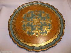 "Vintage Italian Florentine WOOD Toleware TRAY 15"" Turquoise & Gold"