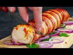 Tekerd a csirkemellet császárhúsba és ízletes tekercset tálalhatsz majd!  Ízletes TV - YouTube Kielbasa, Bacon, Baked Potato, Turkey, Meat, Chicken, Cooking, Ethnic Recipes, Pancetta