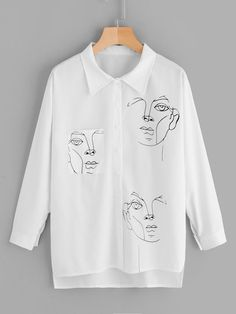 To find out about the Figure Print Dip Hem Blouse at SHEIN, part of our latest Blouses ready to shop online today! Custom Clothes, Diy Clothes, Diy Fashion, Fashion Outfits, Fashion Design, Painted Clothes, Spring Shirts, White Style, Aesthetic Clothes