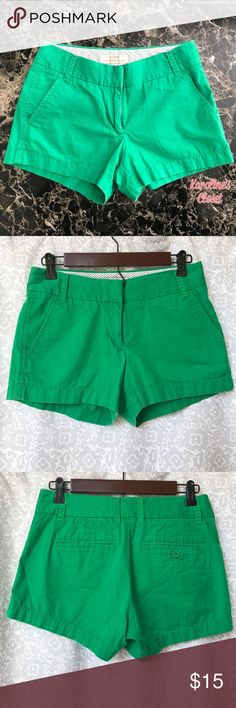 J. Crew Size 0 Green Chino Shorts J. Crew Size 0, green chino shorts with a broken in feel. Hook and eye closure, and super cute!! J. Crew Shorts