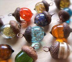 Glass Acorn Necklaces