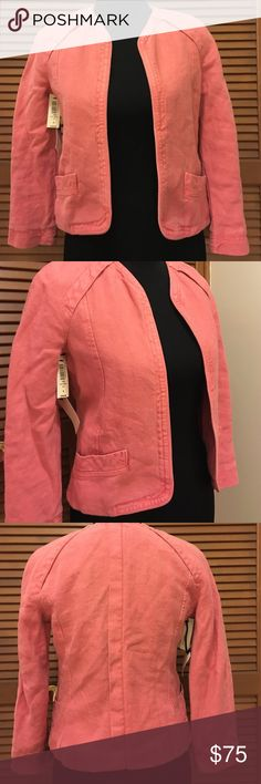 NWT Aritzia Wilfred pink linen jacket Size 4 Brand-new with tags! Gorgeous heavyweight linen jacket. Color is called Kiss. 100% linen. (C) Aritzia Jackets & Coats