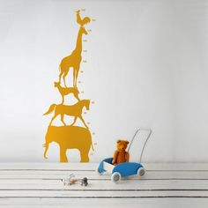 Animal Tower growth chart WallSticker for Kids