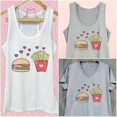 Burger and fries shirt Fast food tee XS S M L XL white tank top/ Grey tee/ dress #unbranded #TankCami #Casual