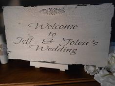 PERSONALIZED WELCOME sign  Cottage, Chippy, Distressed