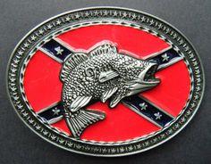 Bass Fishing Rebel Flag Belt Buckle Fish Fishing Confederate Oval Belts Buckles