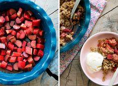 Rabarbercrumble ➙ Opskrift fra Valdemarsro.dk Danish Dessert, Danish Food, Cake Recipes, Dessert Recipes, Desserts, Cook N, Rhubarb Recipes, Eating Organic, New Flavour