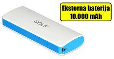 Eksterna baterija GOLF 10000 mAh (bela). Kapacitet baterije je 10000 mAh. Dimenzije:115x75x33 mm. Brzo punjenje. Pogodna za Android telefone. Poseduje USB izlaz, preko kojeg je moguće povezati adekvatan USB kabal za povezivanje sa mobilnim uređajem.
