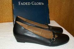 NEW without Box Faded Glory Genuine Leather sz 6 Black Flat Dress Shoe #FadedGlory #Flats