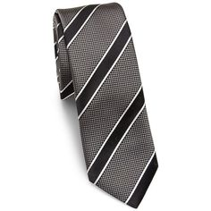 HUGO BOSS Jumbo Striped Silk Tie (225 BRL) ❤ liked on Polyvore featuring men's fashion, men's accessories, men's neckwear, ties, mens striped ties, mens ties, mens leopard print tie, mens patterned ties and men's silk ties