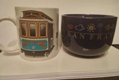Lot of 2 San Francisco Collectible Coffee Cups Soup Cups Van Ness Ave. Trolley in Pottery & Glass | eBay