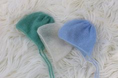 CLEARANCE Sale Bundle of 3 mohair hats por MoonlightLittleKnits