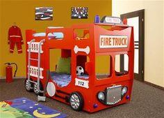 Brandbil Træ Børne Etageseng m/LED og Madras