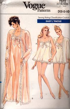 Vogue 7372 Misses Lace Robe Nightgown Panties 2 Lengths Easy womens vintage seiwng pattern by mbchills plus size dress Lingerie Patterns, Clothing Patterns, Dress Patterns, Lingerie Vintage, Sewing Lingerie, Vintage Outfits, Vintage Dresses, Vintage Vogue, Vintage Fashion