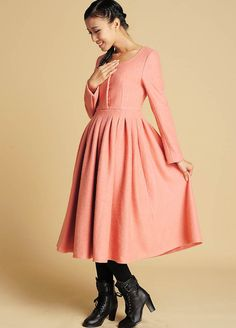 Pink wool midi dress with long sleeve 372 by xiaolizi on Etsy, $78.00