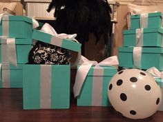 Breakfast At Tiffany's or Tiffany & Co. themed wedding, shower, or party centerpieces