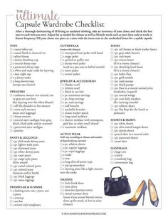 This free printable ultimate capsule wardrobe checklist is exactly what I need t. This free printable ultimate capsule wardrobe checklist is exactly what I need to put together a classic and stylish closet full of clothing I love to wear! Capsule Wardrobe Mom, Capsule Outfits, Build A Wardrobe, Fashion Capsule, New Wardrobe, Basic Wardrobe Essentials, Staple Wardrobe Pieces, Professional Wardrobe, Work Outfits