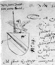 Shakespeare's coat of arms, as it appears on the rough draft of the application to grant a coat-of-arms to John Shakespeare. It features a spear as a pun on the family name