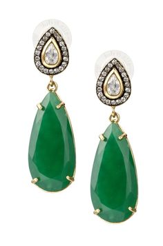 Stella & Dot Emerald Green Liz Drop Earrings