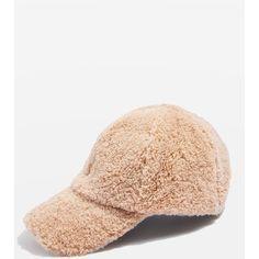 Topshop Faux Fur Cap (€21) via Polyvore featuring accessories, hats, tan, sport caps, tan hat, cap hats, topshop hats and retro sports hats