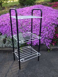 Restored Vintage Metal Black & White 3-Tiered Stand for Bathroom Towels by byRQ on Etsy