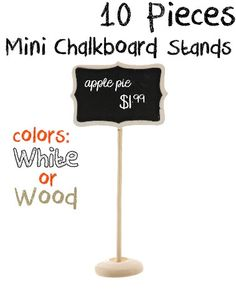 10 Mini Chalkboard Stands, Craft Fair Signs, Wedding Chalkboards, Small Blackboards, DIY Wedding on Etsy, $19.99