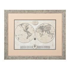 Found it at wayfair old world map blue framed graphic art on whitewashed map framed art print gumiabroncs Image collections