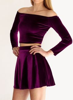Purple Velvet Skater Skirt. the skirt is cute not the shirt so much