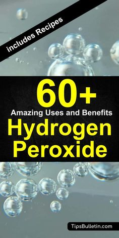 60 fantastic uses and benefits of hydrogen peroxide. From uses for hair, teeth,skin or ear up to health benefits when used as mouthwash or foot soak. Includes various cleaner recipes for cleaning with peroxide and baking soda. Deep Cleaning Tips, House Cleaning Tips, Natural Cleaning Products, Cleaning Solutions, Cleaning Hacks, Hacks Diy, Cleaning With Peroxide, Hydrogen Peroxide Uses, Borax Cleaning
