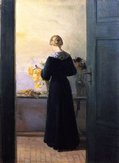 Young Woman Arranging Flowers (Anna Ancher - circa No dates listed)