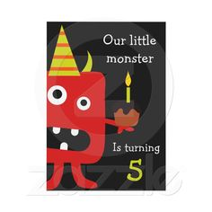 Cute Little Monster Kids Birthday Party Invite from Zazzle.com