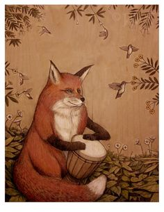 ...start learning to play a percussion instrument (probably a djembe)...Red Fox on Djembe by PaulsArtCompany on Etsy