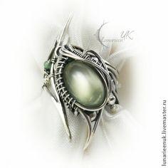 ANTURDIALH - тёмно-фиолетовый,кольцо,wire wrap,серебро 925,ярко-зелёный